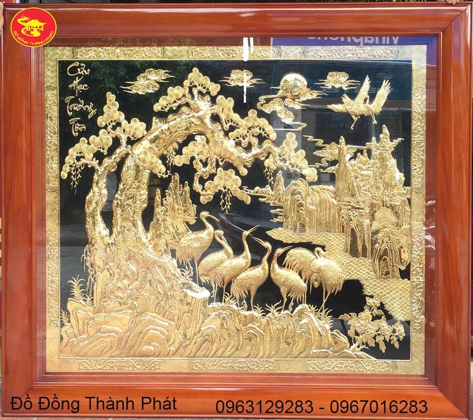 Tranh Đồng Song Tùng Cửu Hạc Mạ Vàng| Địa Chỉ Bán Tranh Đồng Ở Hà Nội
