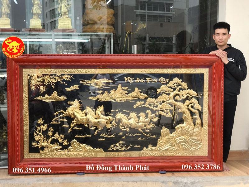 Tranh Phủ Vàng Ròng Mã Đáo Thành Công Dài 2,31 m Khung Gỗ Hương Cực Đẹp