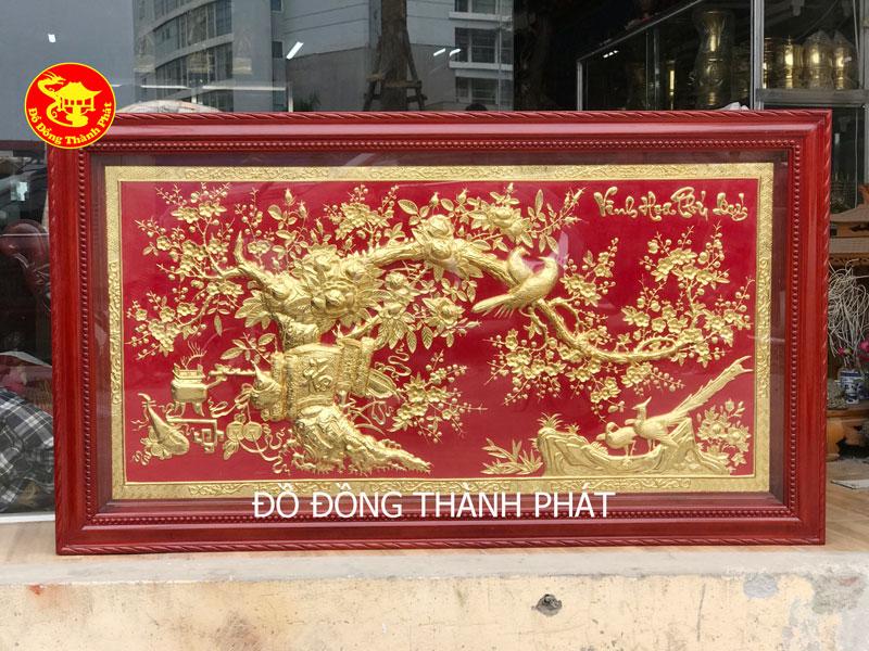 Tranh Đồng Vinh Hoa Phú Quý Mạ Vàng 24k Nền Đỏ Sang Trọng