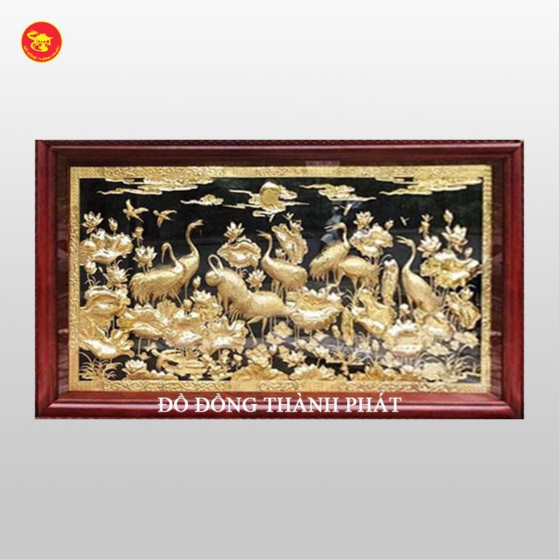 Tranh sen hạc khổ lớn tại Hà Nội