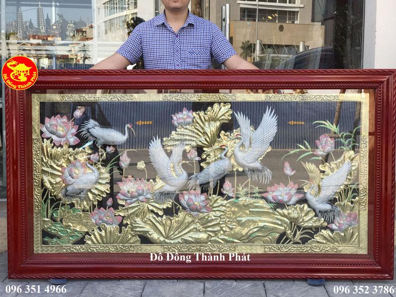 Tranh Sen Hạc Bằng Đồng Sơn Bạc