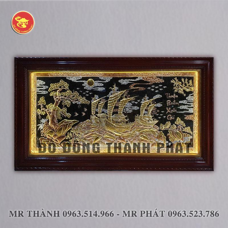 Tranh Thuận buồm xuôi gió bằng đồng có đèn led
