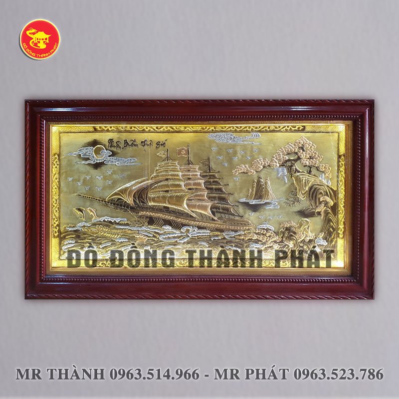 Tranh Thuận buồm xuôi gió bằng đồng dài 2,3 mét khung gỗ tự nhiên