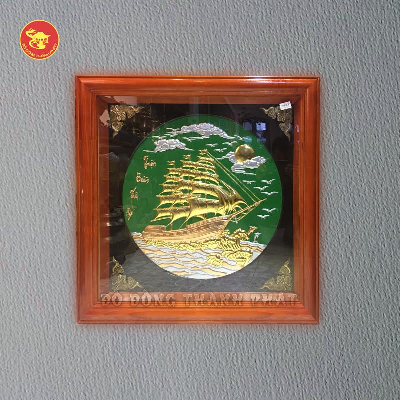 Tranh đồng Thuận Buồn Xuôi Gió dát vàng lá
