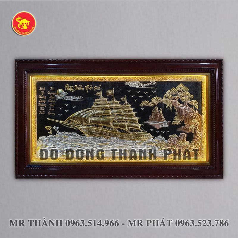 Tranh Thuận buồm xuôi gió bằng đồng nền đen có đèn led