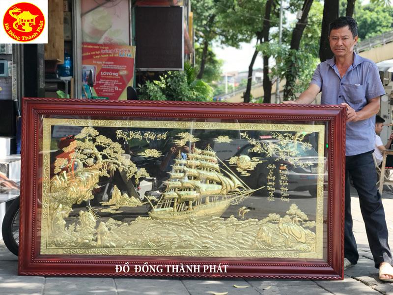 Tranh Đồng Treo Phòng Khách Thuận Buồm Xuôi Gió