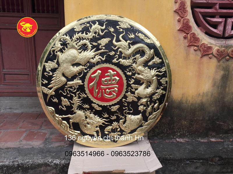 Tranh Phong Thủy -Tranh Trống Đồng Tứ Linh Chữ Phúc