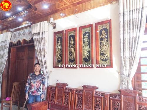 Bộ Tranh Đồng Phong Thủy - Tùng Cúc Trúc Mai