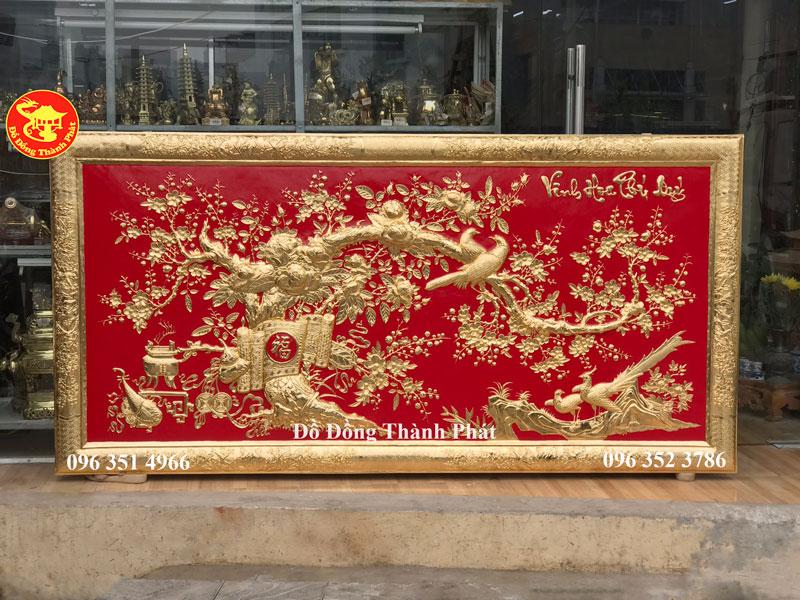 Tranh Đồng Vinh Hoa Phú Quý Mạ Vàng  24k Cao Cấp Dài 2,12 m Rộng 1,06 m