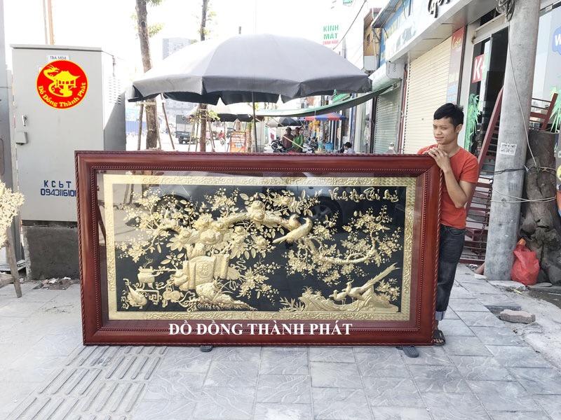 Bức Tranh Đồng Vinh Hoa Phú Quý Mạ Vàng 24 k Dài 2,31 m Cho Khách Hòa Bình