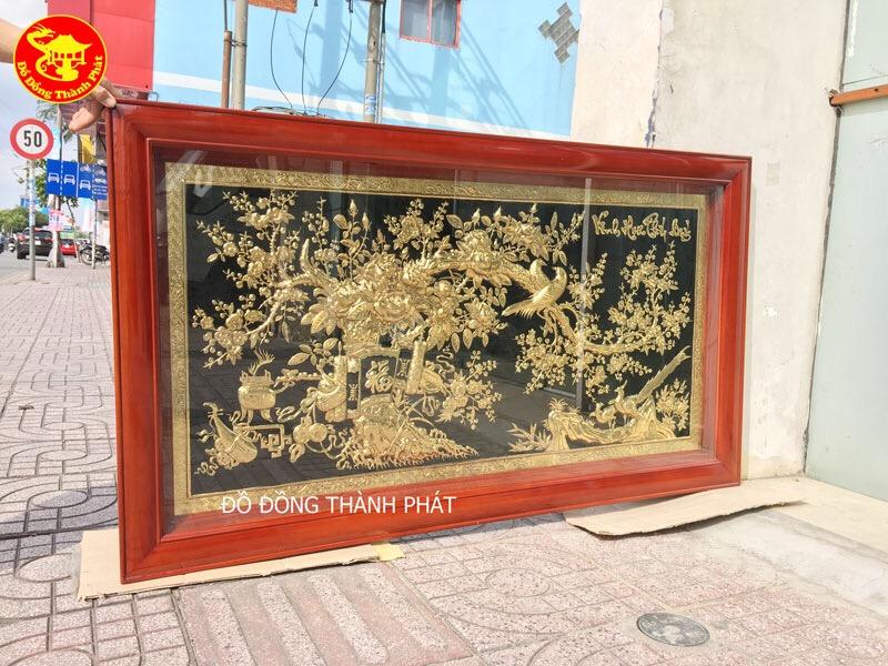 Tranh Vinh Hoa Phú Quý Bằng Đồng Mạ Vàng 24k Cao Cấp Treo Phòng Khách Đẹp