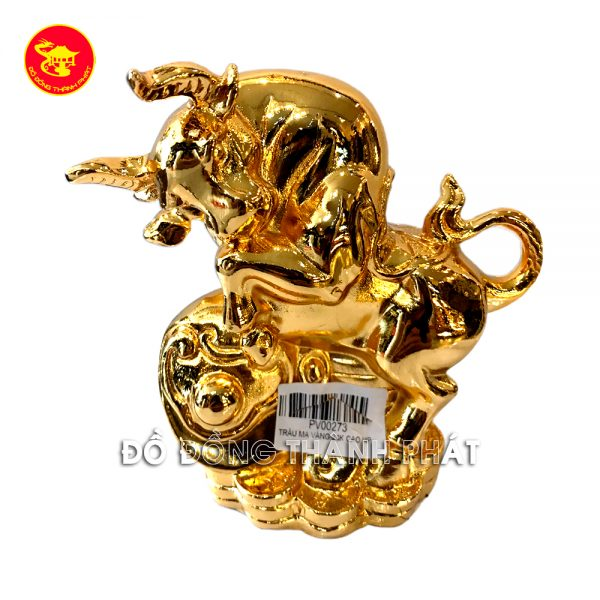 Linh vật Trâu - bộ tượng 12 con giáp bằng đồng mạ vàng