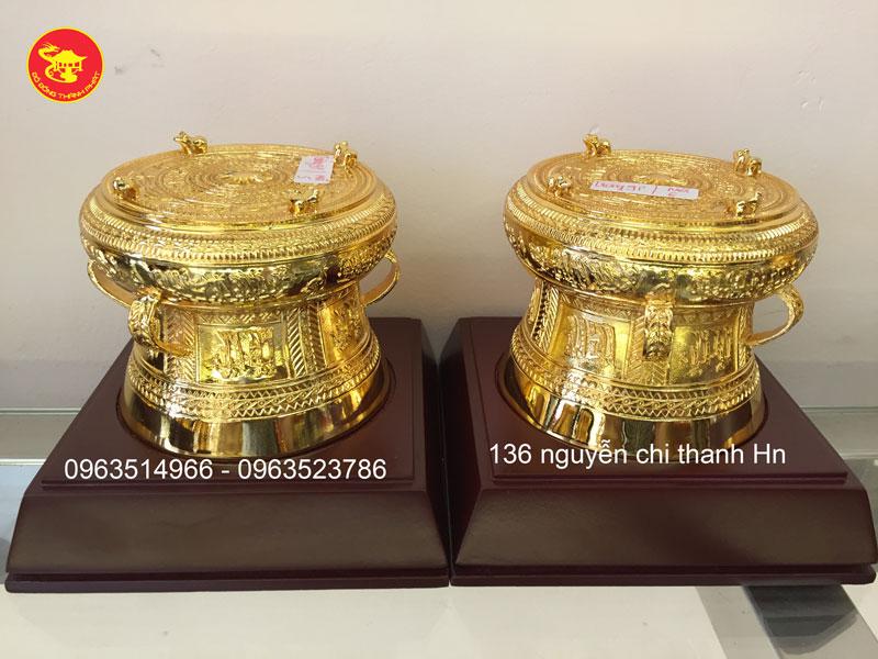Trống Đồng Đông Sơn Bằng Đồng Mạ Vàng 24k  Đường Kính 8cm