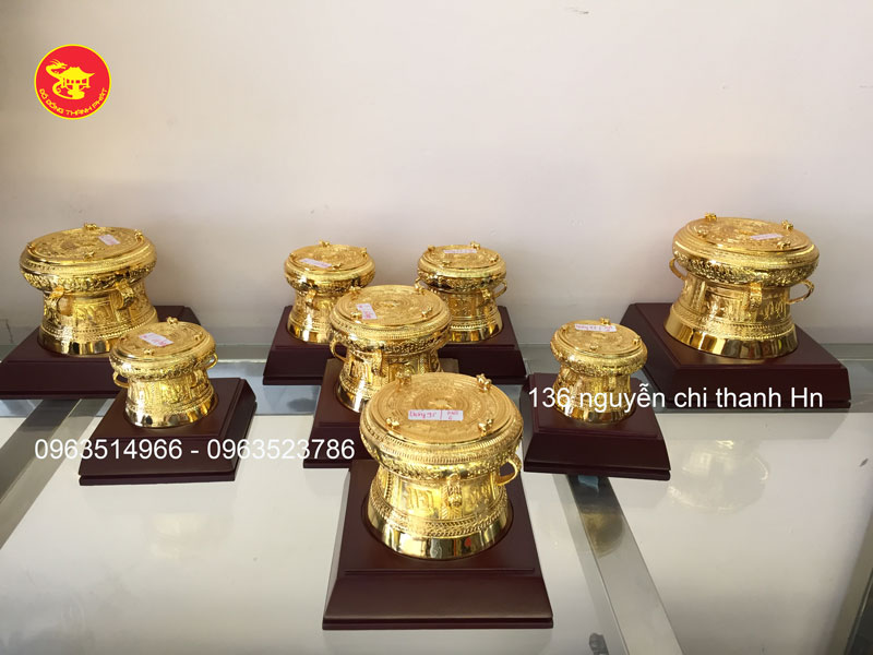 Trống Đồng Đông Sơn Mạ Vàng 24k - Quà Tặng Đồ Đồng Ý Nghĩa