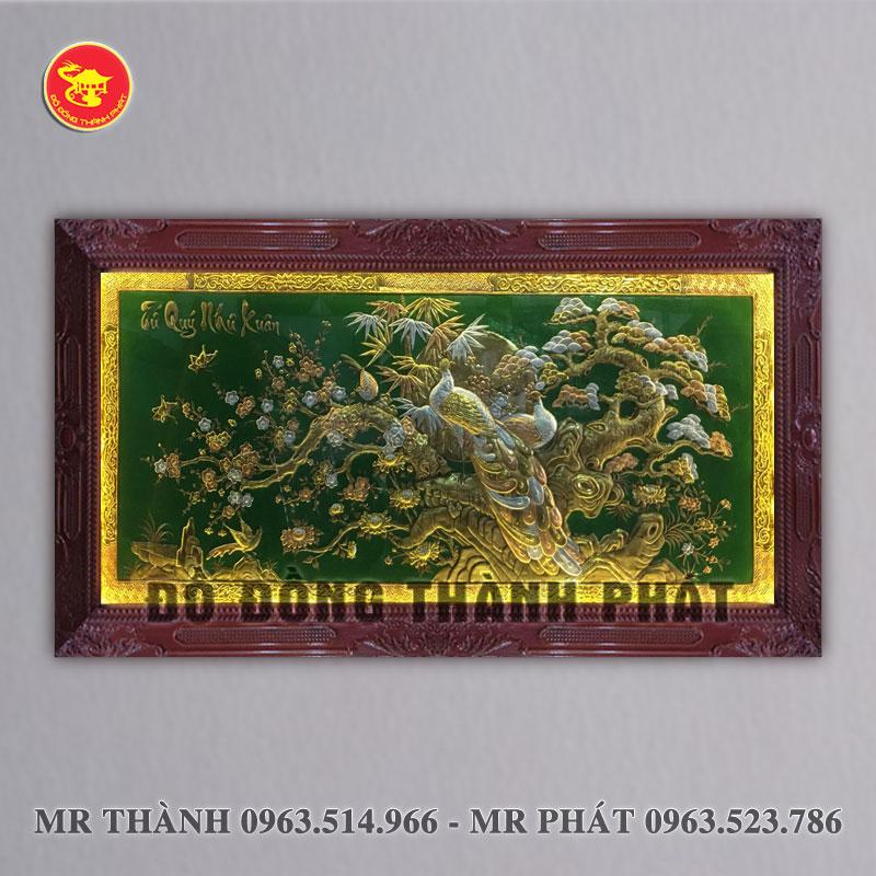 Tranh tứ quý như xuân bằng đồng dài 2,3 mét khung gỗ tự nhiên