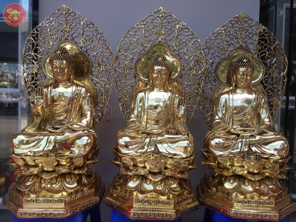Địa chỉ bán Bộ tượng tam thế phật hiện tại quá khứ vị lai bằng đồng vàng đẹp uy tín tại Hà Nội, Đà Nẵng, HCM