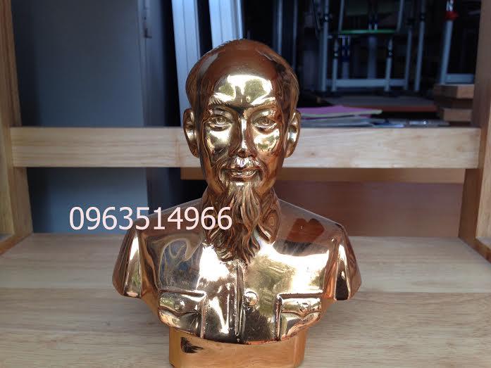 Mẫu Tượng Bác Hồ Bằng Đồng Mạ Vàng Cao 28cm Thờ Tại Gia