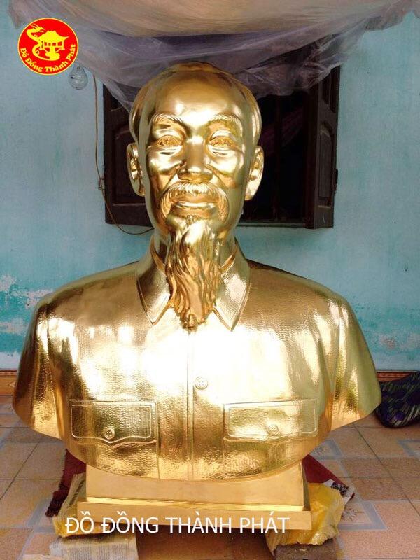 Tượng Bán Thân Chân Dung Bác Hồ Bằng Đồng Mạ Vàng 24k Cao Cấp