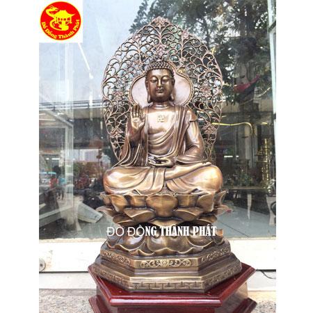 Đúc Tượng Phật Dược Sư Bằng Đồng Cao 68 cm, Tượng Hun Màu Đẹp Giả Cổ