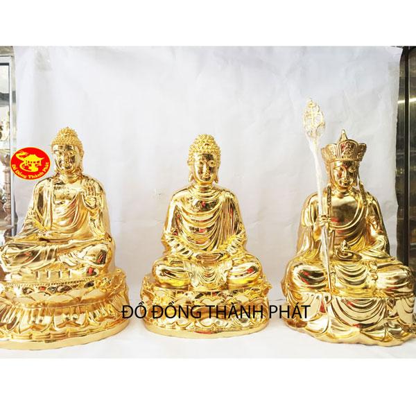 Tượng đồng Tam Thánh mạ vàng đẹp| Địa chỉ bán tượng phật uy tín tại Hà Nội, HCM, Đà Nẵng