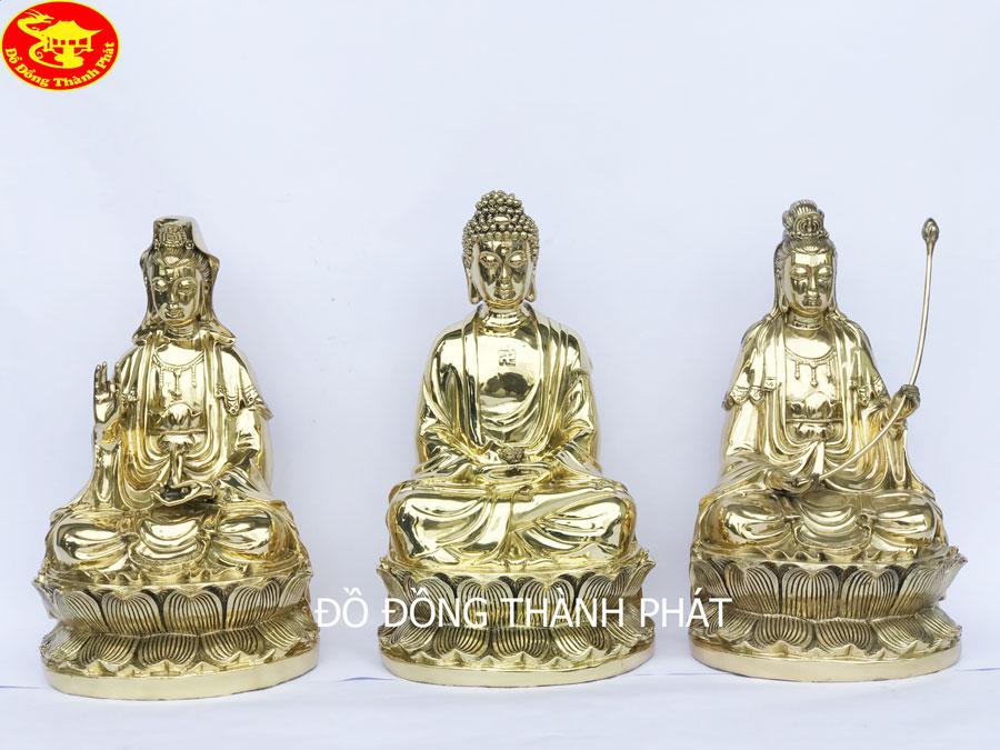 Bộ Tượng Tam Thánh Phật Tây Phương Bằng Đồng Vàng