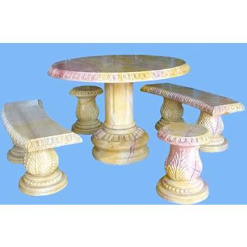 Bàn ghế đá cẩm thạch vàng