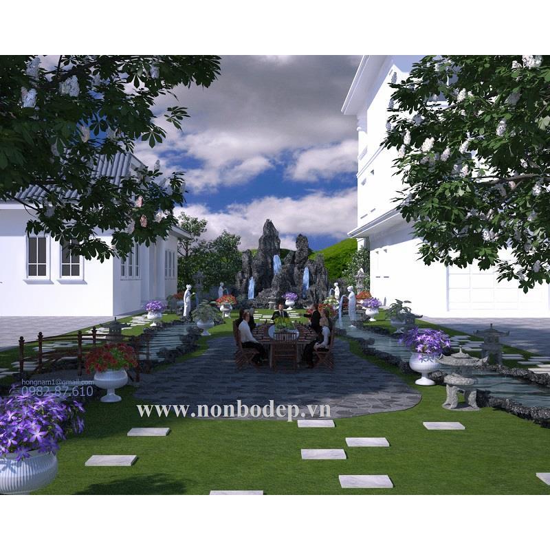 Phối cảnh non bộ sân vườn
