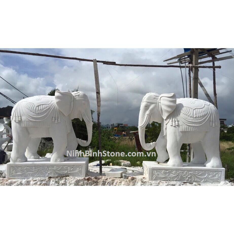 Tượng con voi đá trắng mã DN08