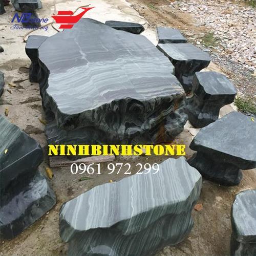 Bàn Ghế Đá Đen Đẹp NBS-BGD11