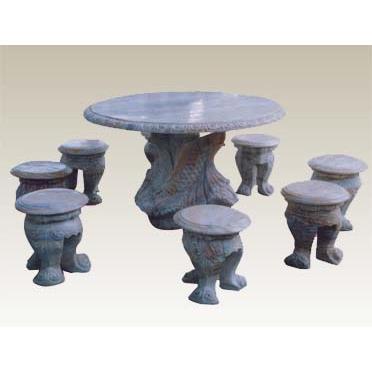 Bộ bàn ghế đá tròn chạm khắc