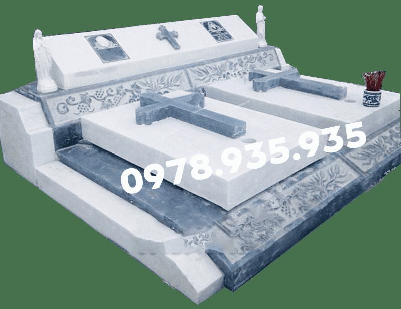 Mẫu mộ đá hoa cương công giáo, đôi trắng NBS-MĐHC26