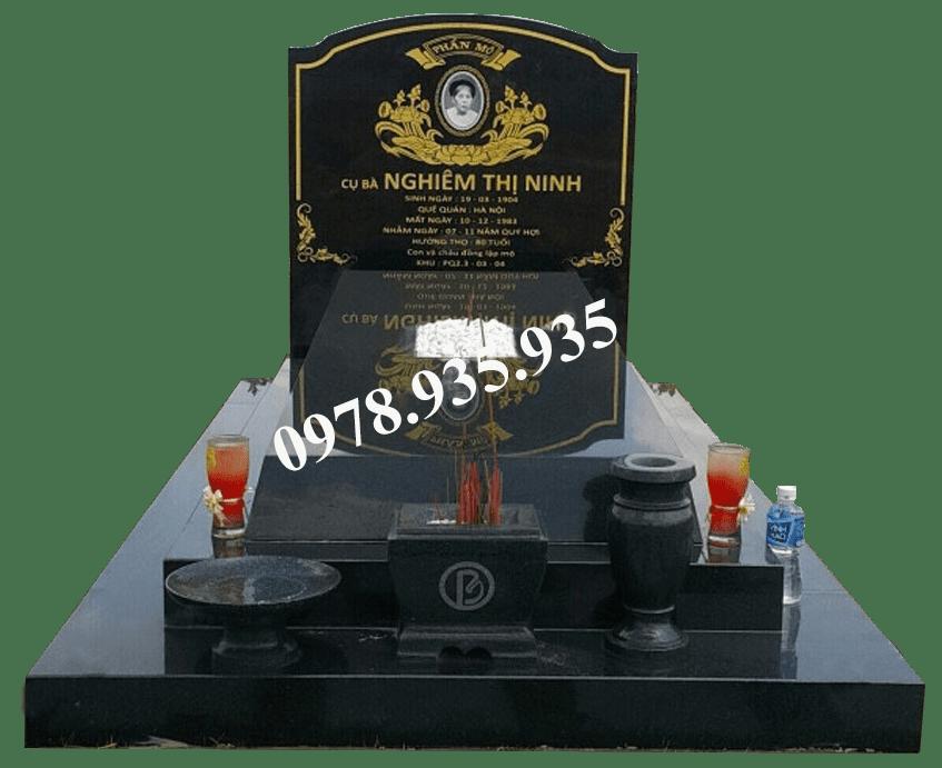 Mẫu mộ đá hoa cương đơn đen NBS-MĐHC28