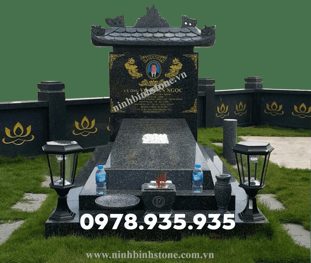 Mẫu mộ đá hoa cương đơn đen NBS-MĐHC29