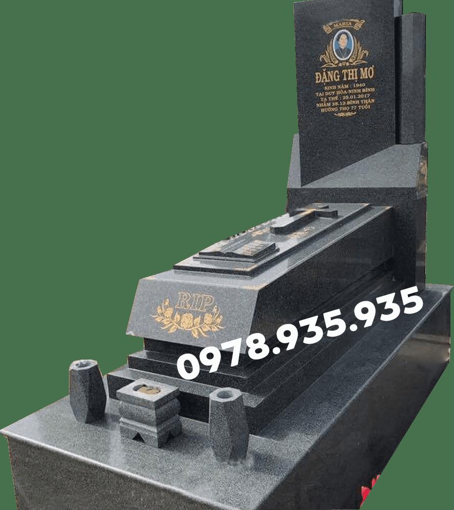 Mẫu mộ đá hoa cương công giáo đơn màu đen NBS-MĐHC27