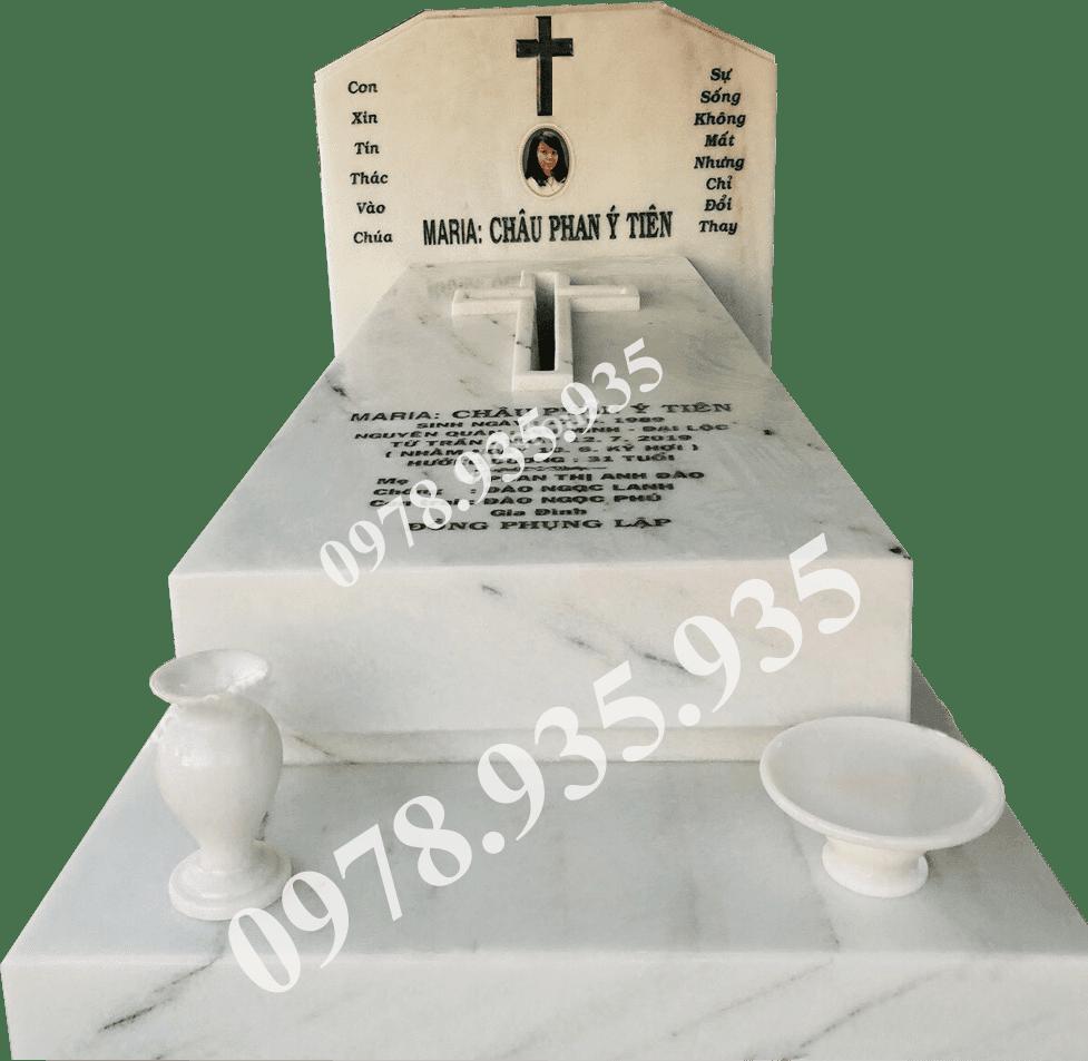 Mẫu mộ đá hoa cương đơn trắng NBS-MĐHC25