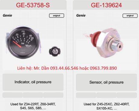 Đồng hồ, cảm biến áp suất dầu động cơ xe nâng genie