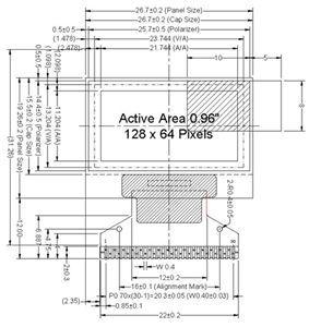 LCD ER-OLED0.96-1W[128X64 YELLOW+BLUE]
