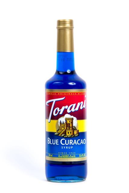 Syrup Torani Curacao.