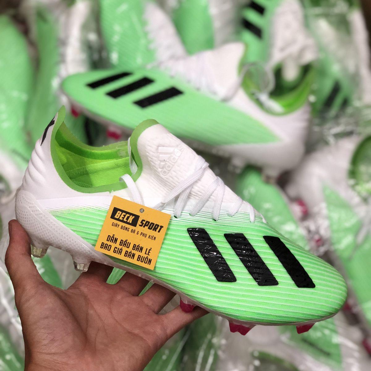 Giày Bóng Đá Adidas X 19.1 Xanh Lá Vạch Đen Gót Trắng FG