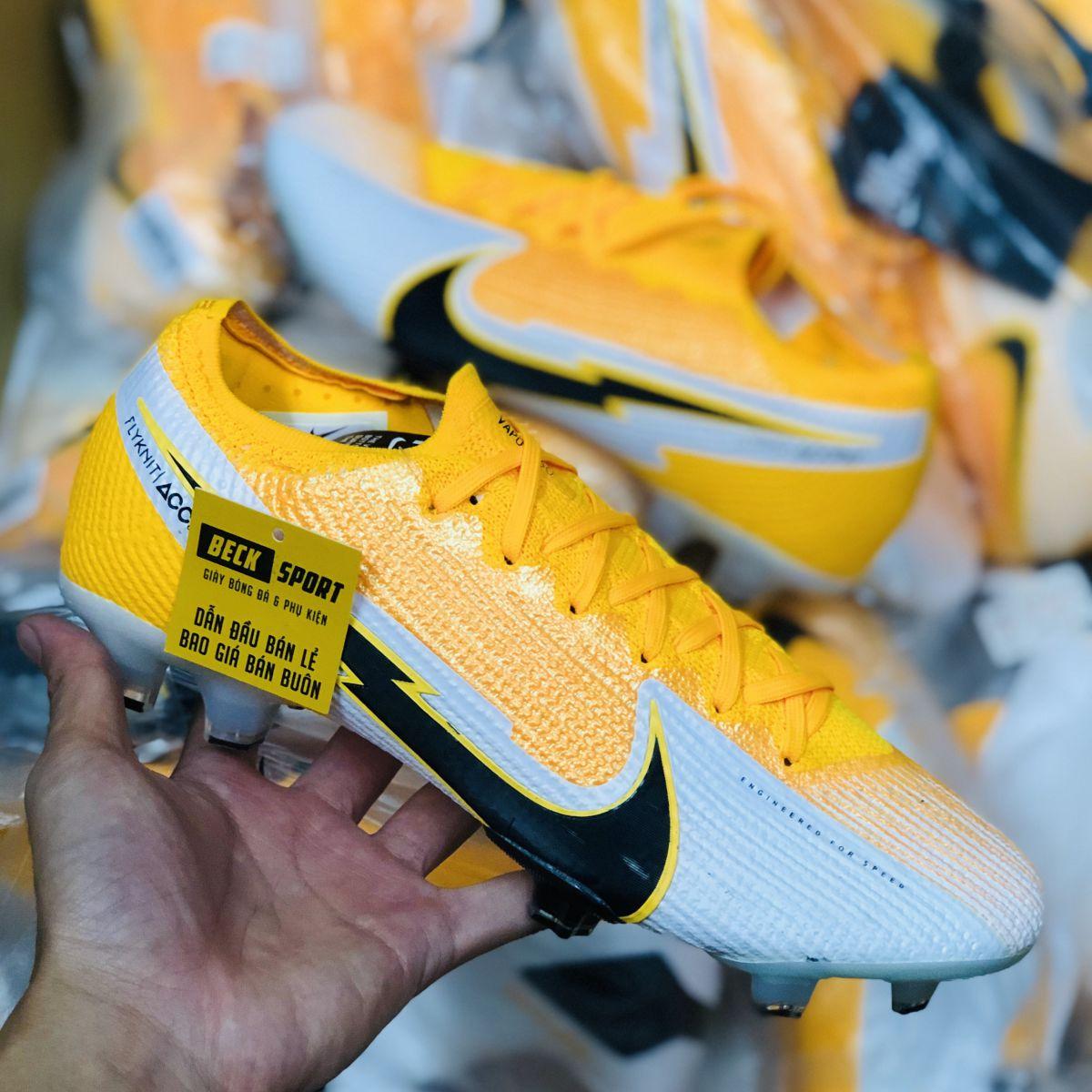Giày Bóng Đá Nike Mercurial Vapor 13 Elite Cam Trắng Vạch Đen FG