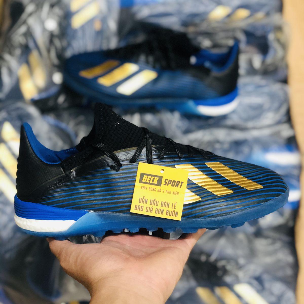 Giày Bóng Đá Adidas X 19.1 Xanh Than Vạch Đồng TF