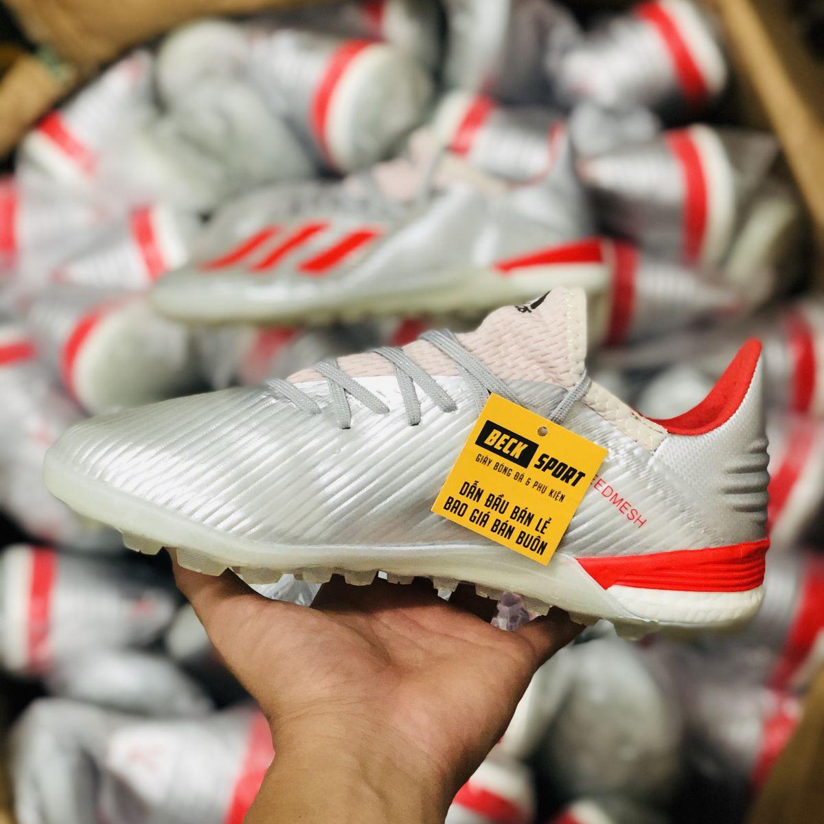 Giày Bóng Đá Adidas X 19.1 Bạc Vạch Đỏ TF
