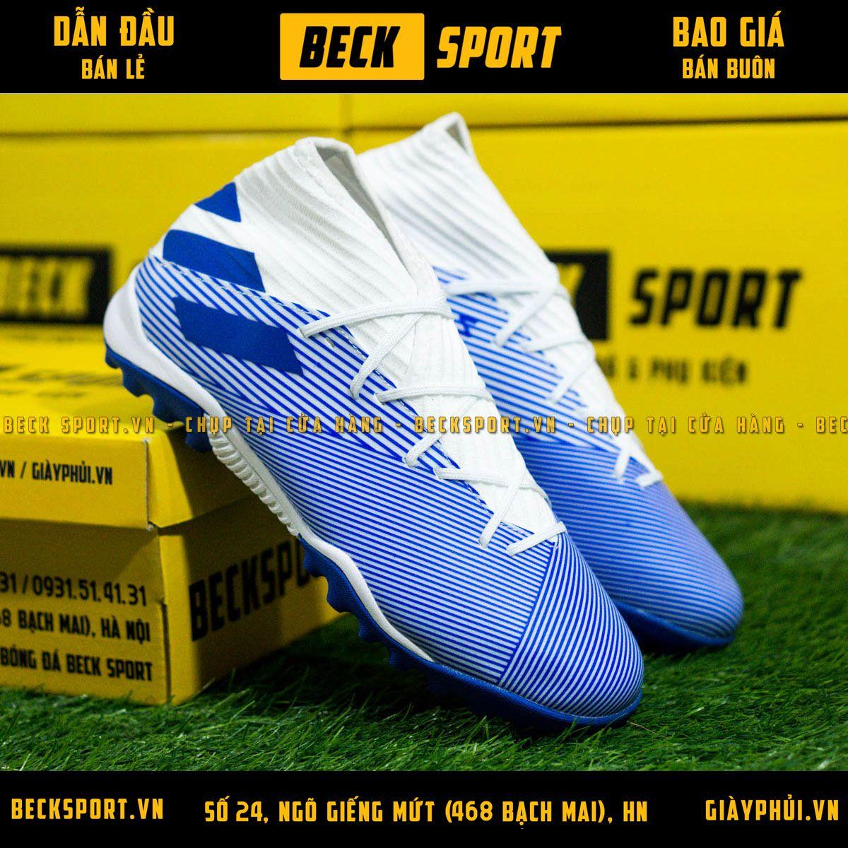Giày Bóng Đá Adidas Nemeziz 19.3 Trắng Vạch Xanh Than Cao Cổ HQ TF