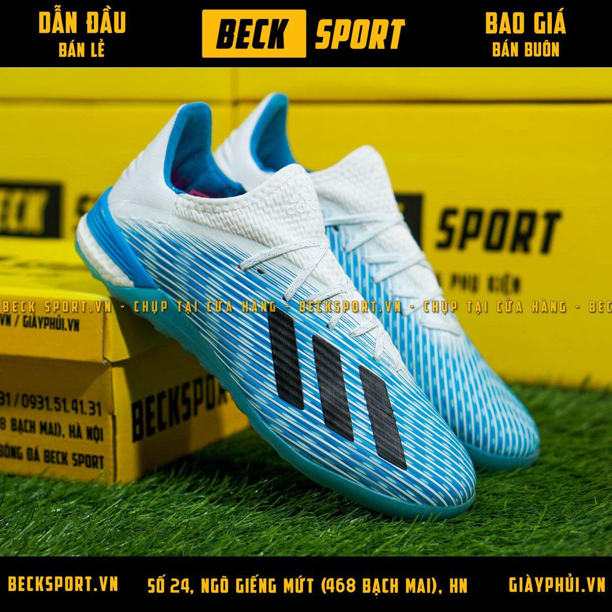 Giày Bóng Đá Adidas X 19.1 Xanh Biển Vạch Đen Gót Trắng IC