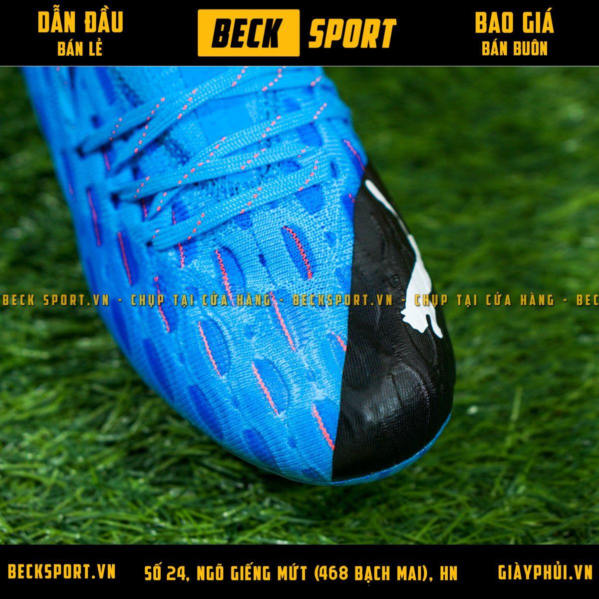 Giày Bóng Đá Puma Future 5.1 Netfit Xanh Biển Gót Đen Cổ Lửng FG