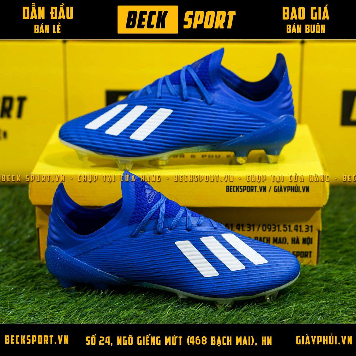 Giày Bóng Đá Adidas X 19.1 Xanh Biển Vạch Trắng FG