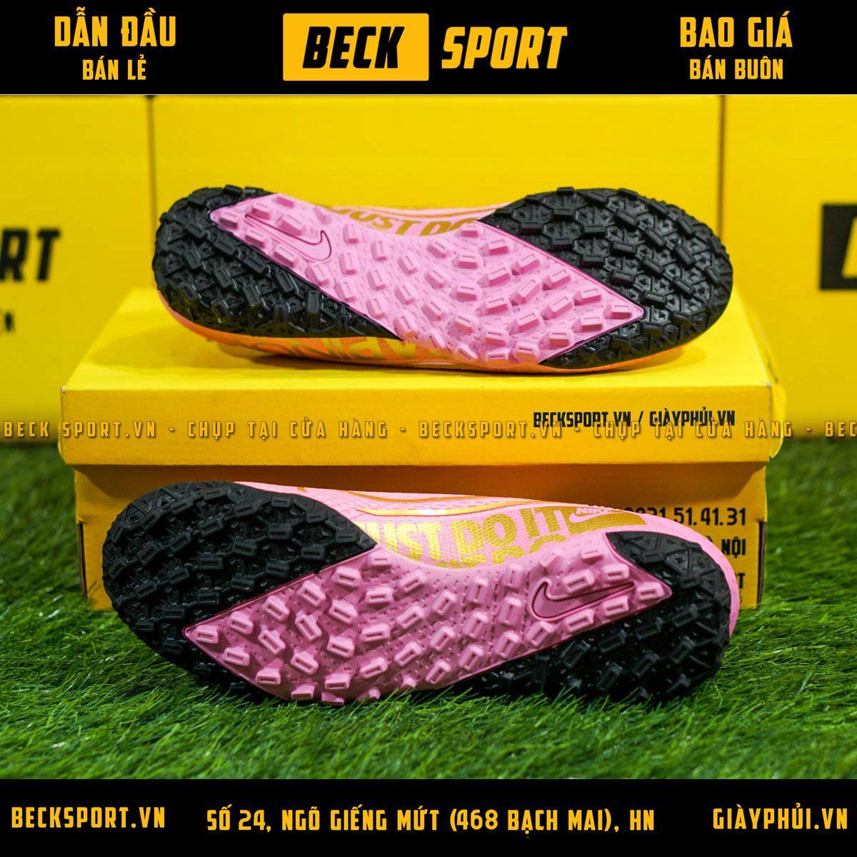 Giày Bóng Đá Nike Mercurial Vapor 13 Pro Hồng Vạch Vàng V2 TF