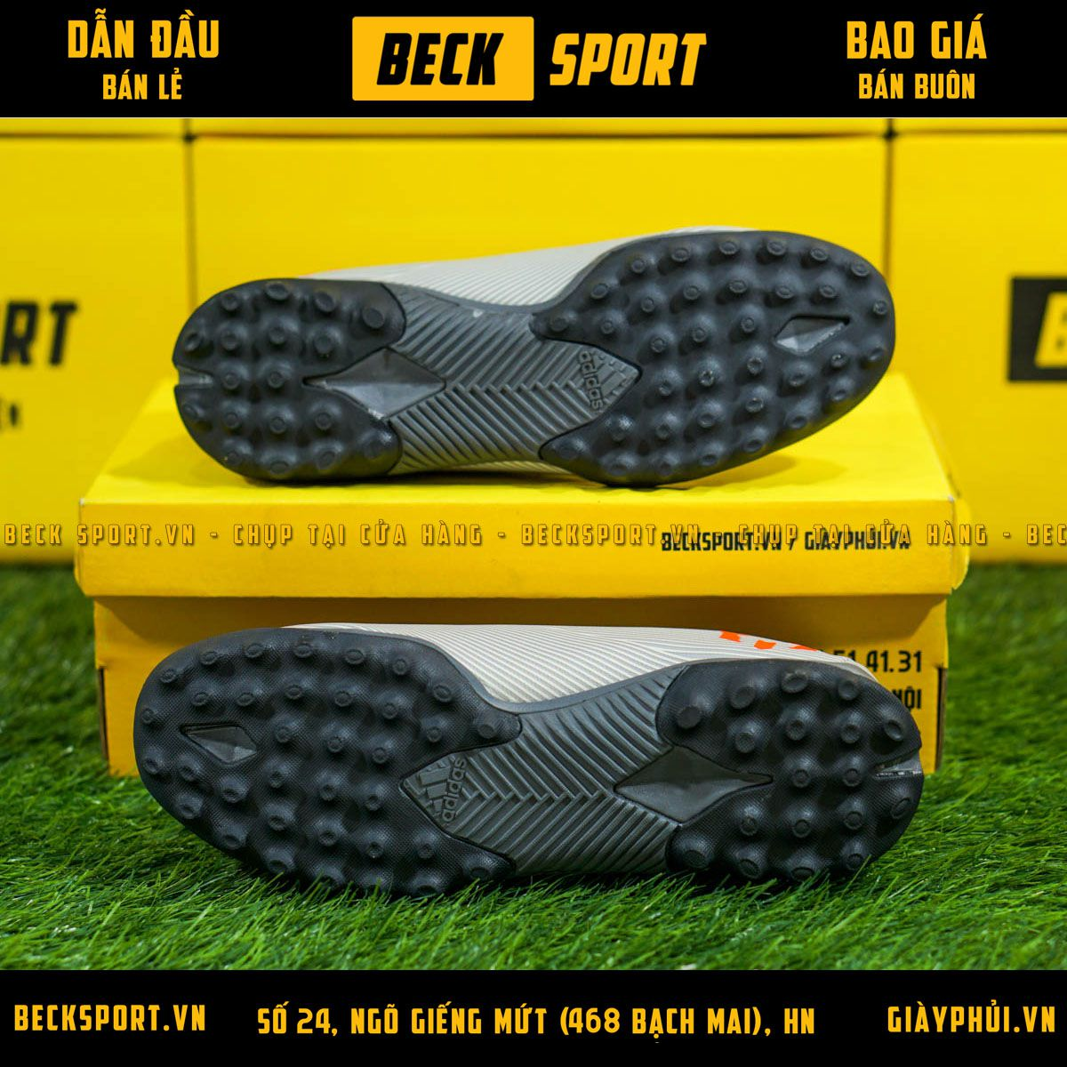 Giày Bóng Đá Adidas Nemeziz 19.3 Xám Vạch Cam HQ TF