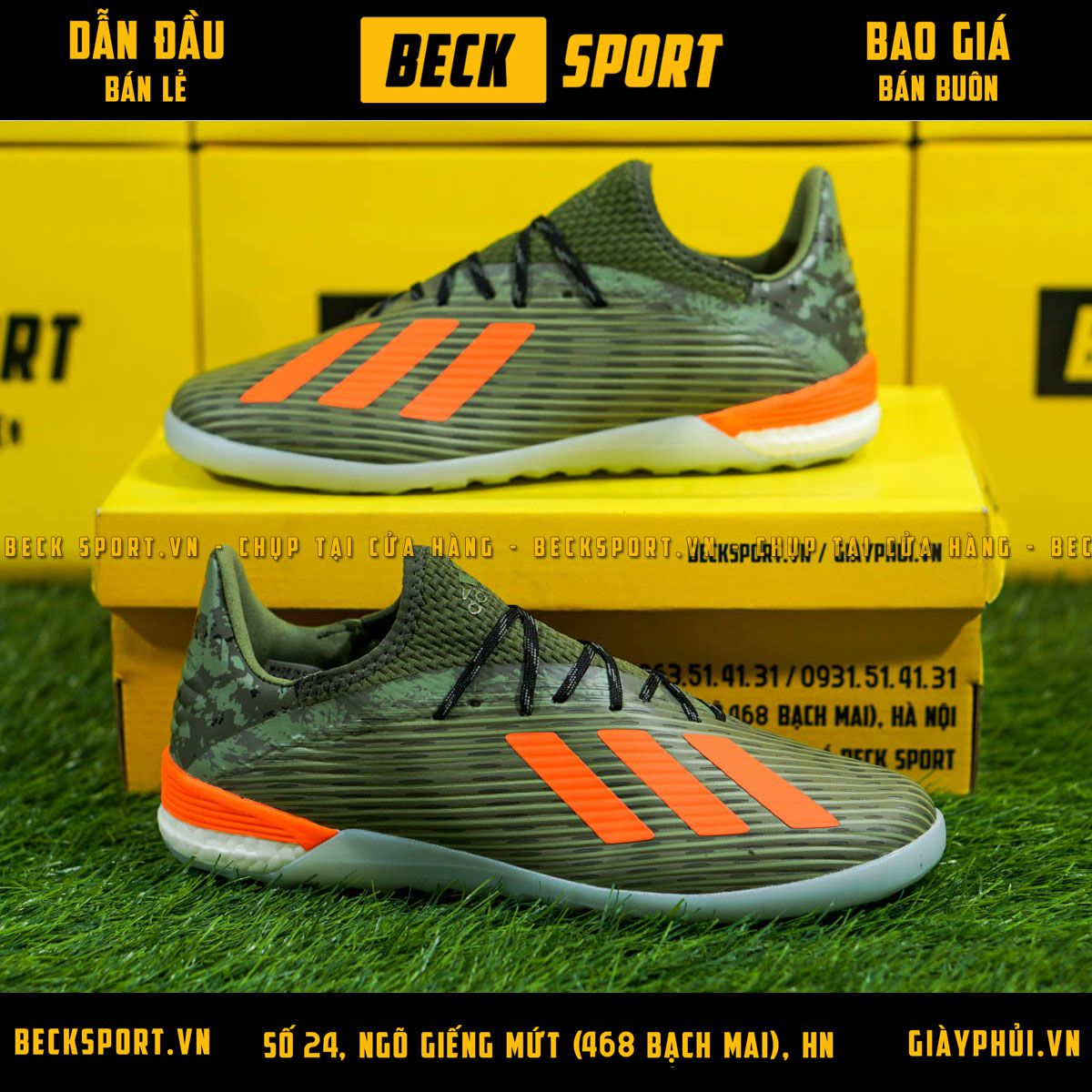 Giày Bóng Đá Adidas X 19.1 Xanh Rêu Vạch Cam Gót Rằn Ri V2 IC
