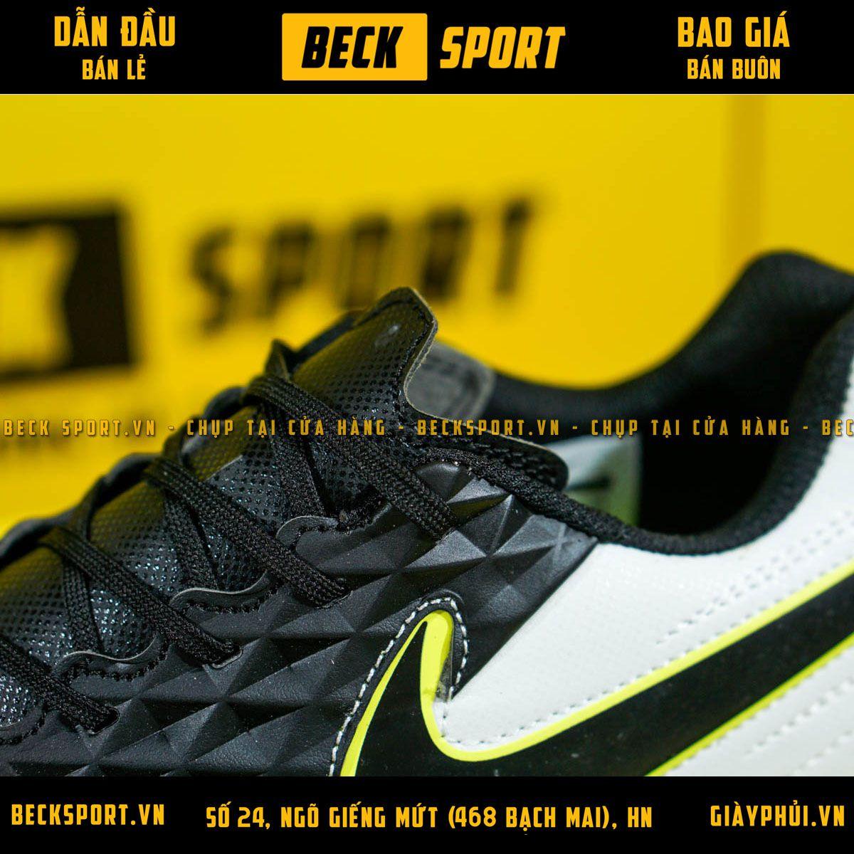 Giày Bóng Đá Nike Tiempo Legend 8 Academy Đen Gót Trắng Đế Đen TF